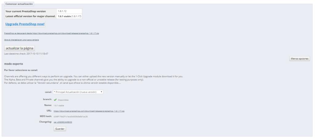 1-click Upgrade - Actualización