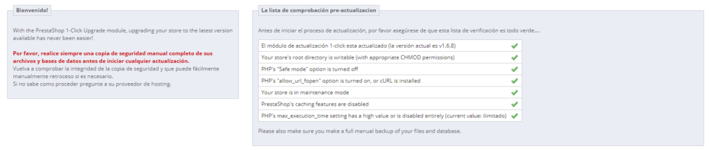1-click Upgrade - Preactualizacion